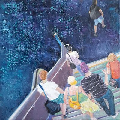 Into the deep blue  50 x 50  14.10.2020 Acryl und Ölfarbe auf Lwd