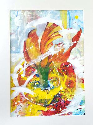 Orangene Blüte 2020  44 x 62 cm im 60 x 80 Aluglasrahmen und Passepartout Acrylfarbe auf Papier - Anfangsgebot 90 Euro