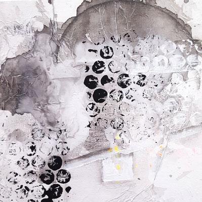 Schwarweiß 15 x 15 cm Aryl auf Malkarton mit einer 10 x 10 cm Leinwand hinterlegt (schwebende Hängung)