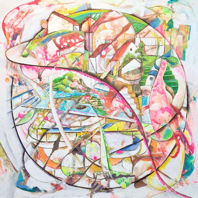 Dreaming about holliday 100 x 100 cm Acrylfarbe auf Leinwand 05.02.2021