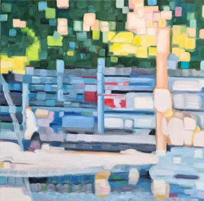 Mooring/Anlegesteg 50 x 50 x 2 cm 22.03.2021 Oil on canvas