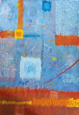 Kratzbild Fenster blau orange - Acrylfarbe auf Papier 44 x 64 cm - Mindestgebot 50 Euro