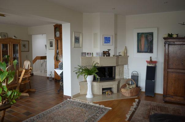 Immobilie in Wülfrath, Bungalow, Reihenmittelhaus, Wohnzimmer, Kamin
