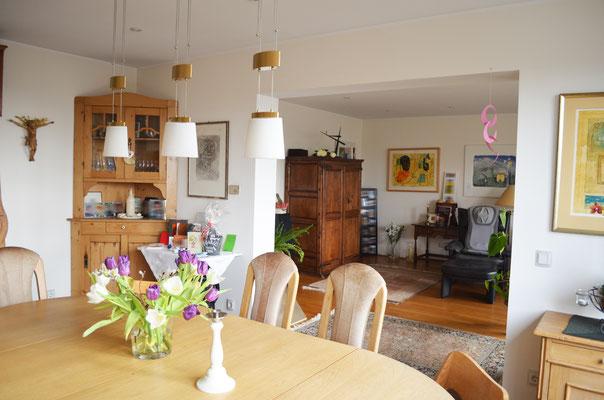 Immobilie in Wülfrath, Bungalow, Reihenmittelhaus, Esszimmer, Blick in Wohnraum, Durchbruch