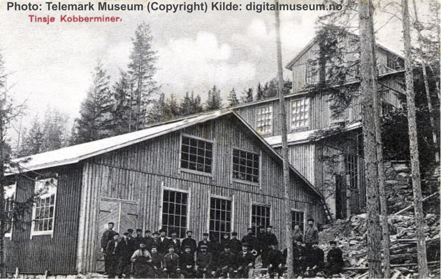Tinnsjø kobbermine postkort fra Telemark Museum
