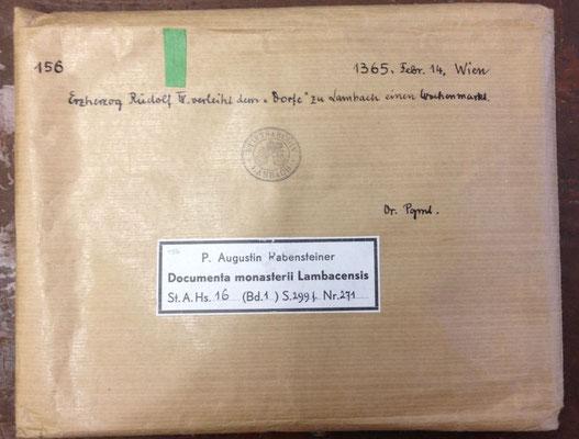 Umschlag zur Aufbewahrung der Urkunde