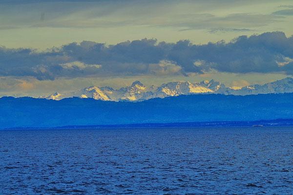 Überlingen から Bodensee 越しに見るアルプス