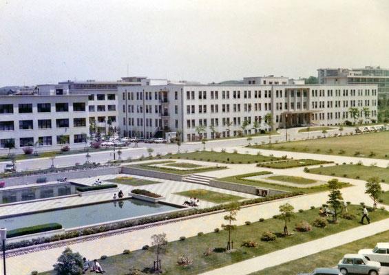 1969〜70年頃。現在の中央図書館前の池のあたり。池はあったが中央図書館はまだ存在せず。現在の古川博物館が古川図書館(中央図書館)だった。
