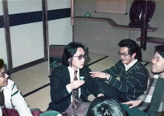 九州大学勤務時代。学生たち(理学部15組1年生)の飲み会(1976年〜7頃)