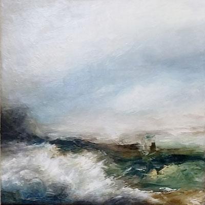 """""""Salty Wind"""" 50 x 50cms oil & wax on canvas"""