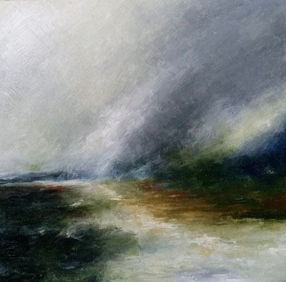 """Stormy Shoalhaven"" oil & wax on canvas 50 x 50cms"