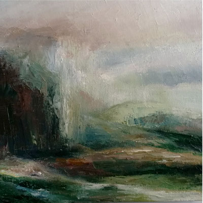 """River Rising"" 40x40cms oil & wax on canvas"