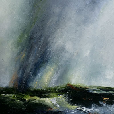 """Stormy Shoalhaven 2"" oil & wax on canvas 50 x 50cms"