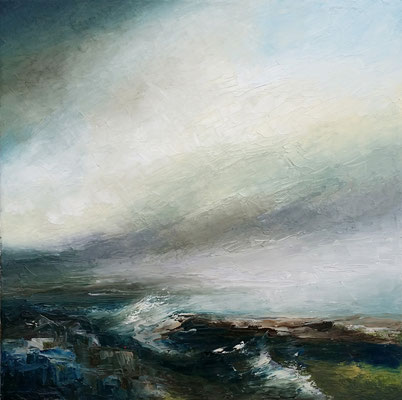 "'Where the River Meets The Sea"" 50 x 50cms oil & wax on canvas"