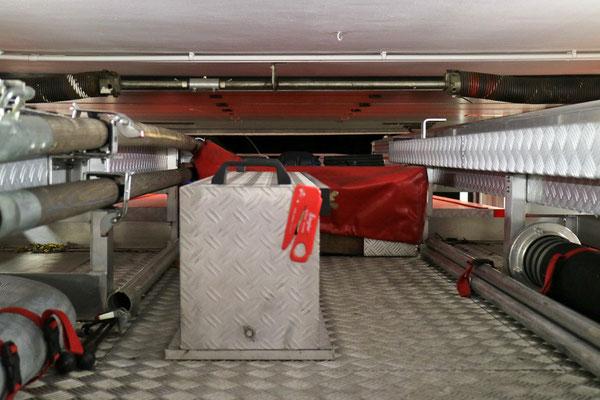Nur wenig Platz ist zwischen dem Tor und dem Dach des Fahrzeuges.