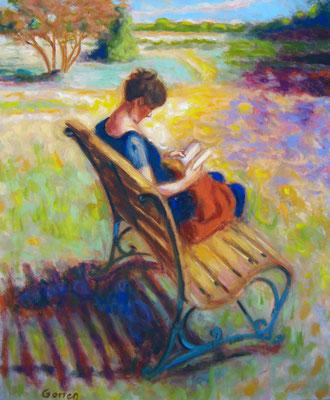 Liseuse au jardin - 55 x 46 cm - huile sur toile