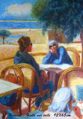 Les dames de Pereire, Arcachon - Huile sur toile - 92 x 65 cm - Collection particulière.