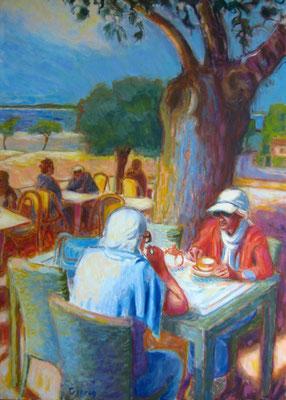 Dames au Mouleau, Arcachon - 92 x 65 cm - huile sur toile