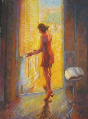 La robe rouge, été aux Carmes de Langon      100x73cm  huile sur toile   VENDU