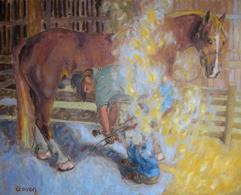 Maréchal ferrant à Aillas 100x81cm huile sur toile