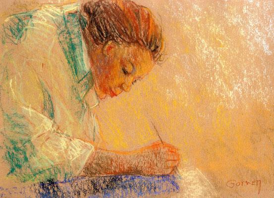 Marie et la lumière  65x50cm  Pastel sur papier