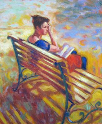 Liseuse rêveuse - 55 x 46 cm - huile sur toile