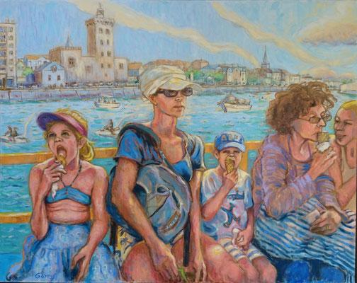 Sables d'Olonne, le bac  - huile sur toile - 92 x 73 cm