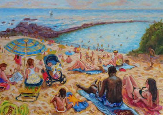Plage, la foule - huile sur toile - 65 x 46 cm