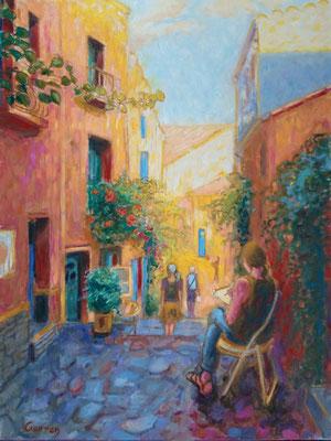 Collioure, ruelle - Huile sur toile - 61 x 46 cm