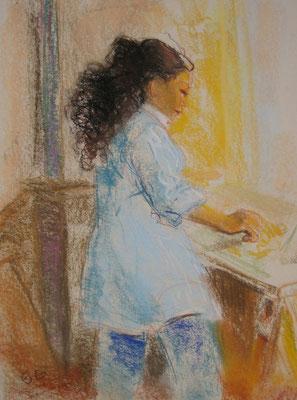 Marie dessine  65x50cm   Pastel sur papier