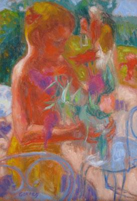 Enfant fleur - 55 x 33 cm - huile sur toile