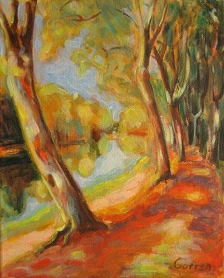 Le Canal à Castets  27x22cm  acrylique sur toile