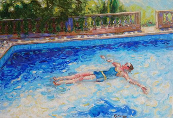 Piscine, la planche - huile sur toile - 55 x 38 cm