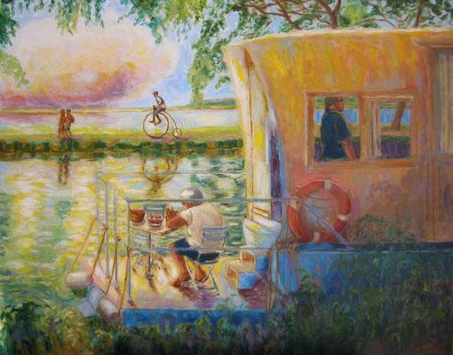 Le Bachot  - 81 x 65 cm - huile sur toile