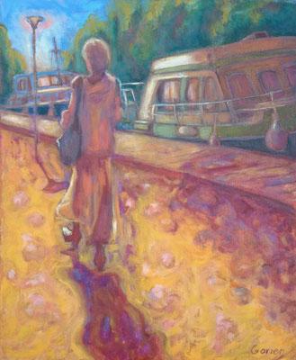La dame du canal (2) - 38 x 46 cm - huile sur toile