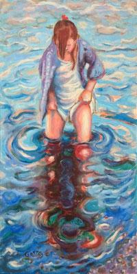 Collioure, trempette - Huile sur toile - 60 x 30 cm