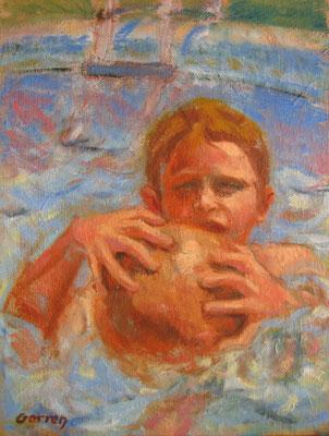 Jeux d'eau - 55 x 27 cm  - huile sur toile