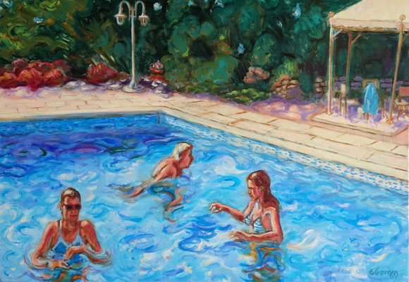 Piscine, le trio - huile sur toile - 55 x 38 cm