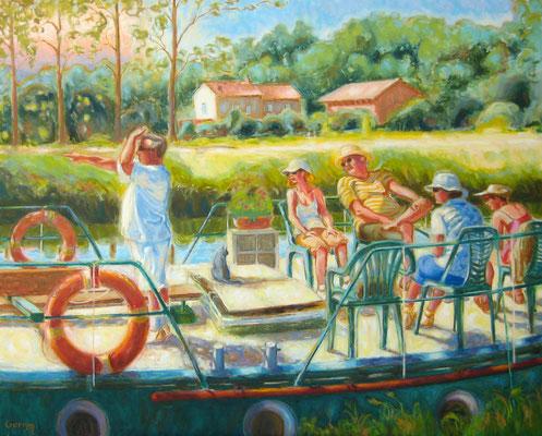 Capitaine, mon capitaine au canal (le Silène) - 100 x 81 cm