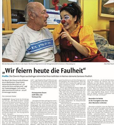 Presseartikel aus den Stuttgarter Nachrichten über die Klinikclownin Angelina Haug aus Esslingen die als Clown demenzkranke Menschen besucht, veröffentlicht mit freundlicher Genehmigung der Stuttgarter Nachrichten