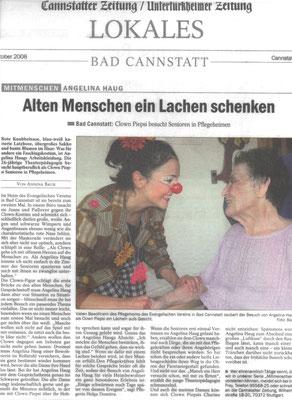 Presse für Angelina Haug, Klinikclownin in Pflegeheimen, veröffentlicht mit freundlicher Genehmigung der Canstatter Zeitung