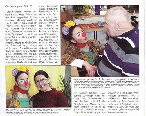 Pressebericht aus der RWZ über die therapeutische Pflege und Geriatrie Clownin Angelina Haug aus Esslingen, veröffentlicht mit freundlicher Genehmigung der RWZ