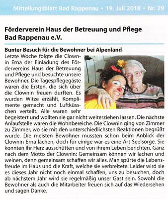 Presseartikel aus dem Mitteilungsblatt Bad Rappenau über die Klinikclownin Angelina Haug aus Esslingen, veröffentlicht mit freundlicher Genehmigung des Mitteilungsblatt Bad Rappenau