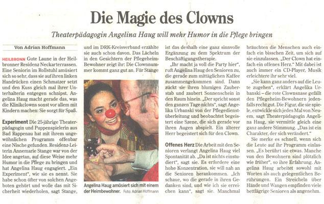 Presse über Clownsvisiten mit Angelina Haug, veröffentlicht mit freundlicher Genehmigung der Heilbronner Stimme