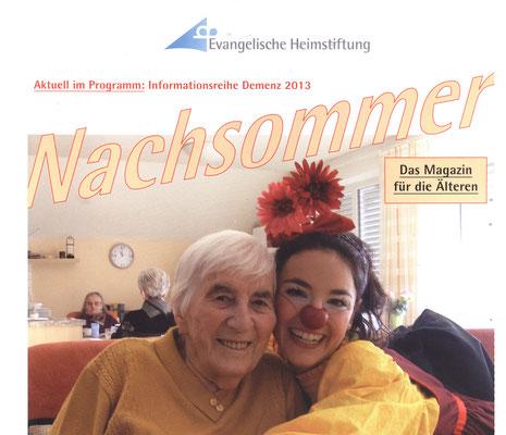 Presseartikel von der Evangelischen Heimstiftung über Clownin Angelina Haug die Menschen in Pflegeheimen auf Clownsvisiten aufheitert, mit freundlicher Genehmigung der Evangelischen Heimstiftung