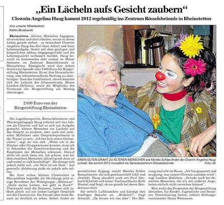 Presseartikel in den Badischen Neusten Nachrichten über die Geriatrie und Pflege Clownin Angelina Haug aus Esslingen