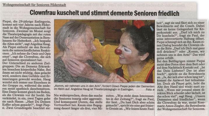 Presseartikel aus der Stuttgarter Zeitung über die Demenzclownin Angelina Haug aus Esslingen, die demenzerkrankte Menschen in Pflegeheimen besucht, veröffentlicht mit freundlicher Genehmigung der Stuttgarter Zeitung