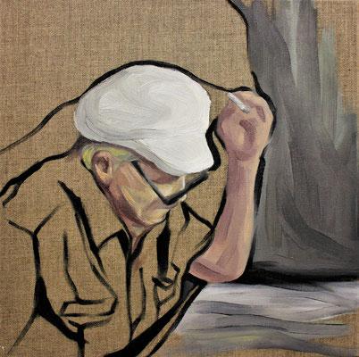 Habit. Oil on canvas. 40 x 40 cm. September 2018
