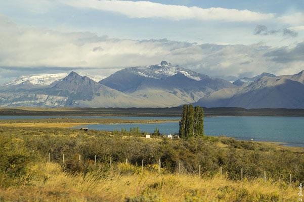 Fahrt von El Calafate zum Perito Moreno Gletscher entlang des Lago Argentino