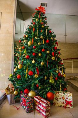 Weihnachtsbaum im Hauseingang